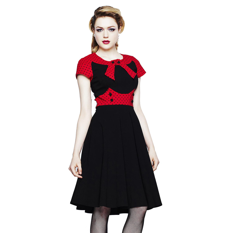 Black dress retro - Hell Bunny Suzy Parker Black Red Dot Retro