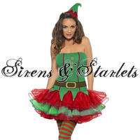 Ladies Womens New Sexy Christmas Santa Elf Girl Fancy Dress Tutu Costume Outfit