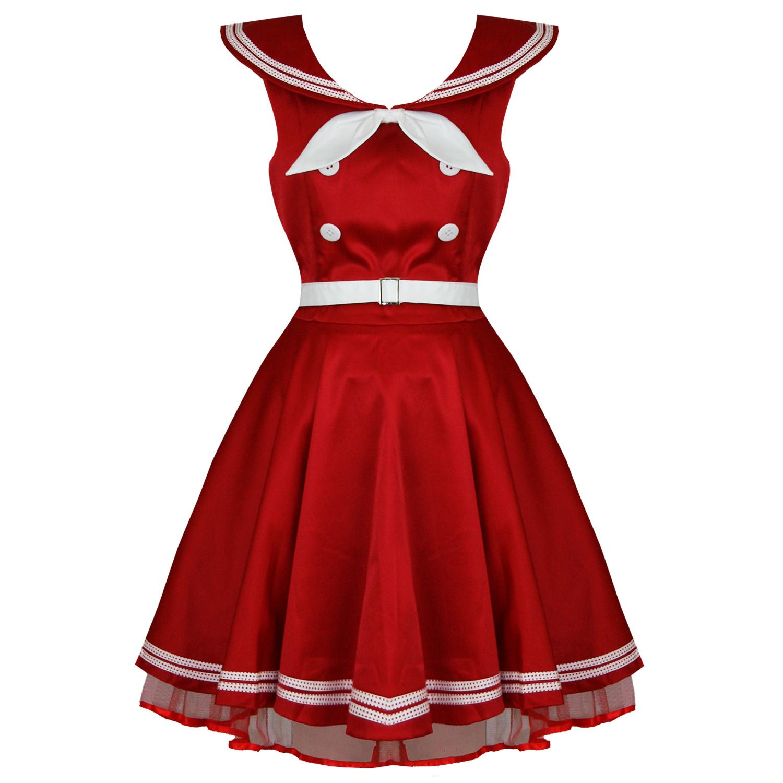 spesso Abito Donna Banned Marinaro Rosso Vintage Anni 50 Da Pinup  QV18