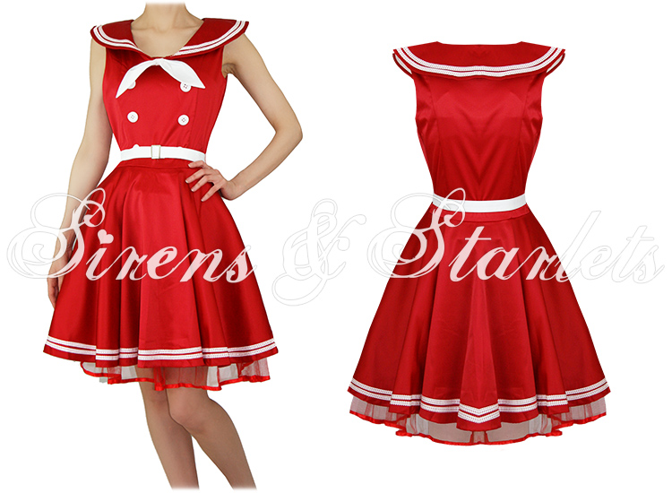 BANNED NEW LADIES RED SAILOR ROCKABILLY 50S RETRO VINTAGE PINUP BOW DRESS