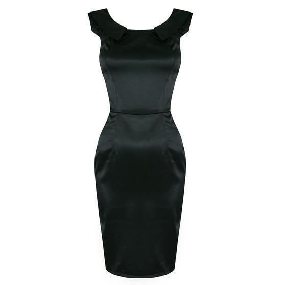 Ladies Womens New Black Satin Fitted Work Career Party Pencil Wiggle Dress UK