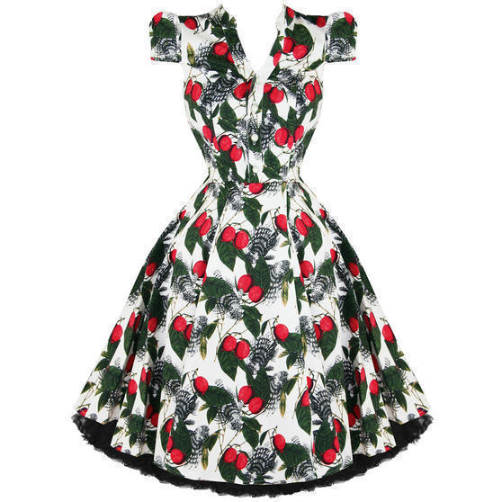 Hearts and Roses London White and Red 1950s Dress