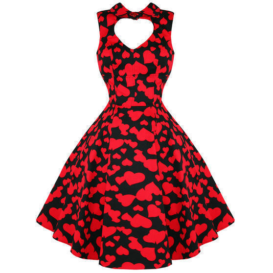 Hearts and Roses London Red Heart 1950s Dress