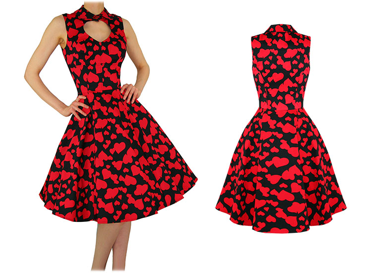 Hearts & Roses London Red Heart Valentines Vintage 50s Party Prom Swing Dress