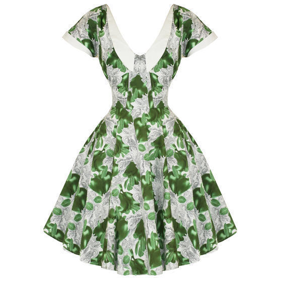 Hearts and Roses London Pear Print 1950s Dress