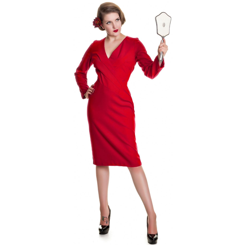 robe femme collectif mia rouge vintage retro 1930 manche longue fourreau ebay. Black Bedroom Furniture Sets. Home Design Ideas