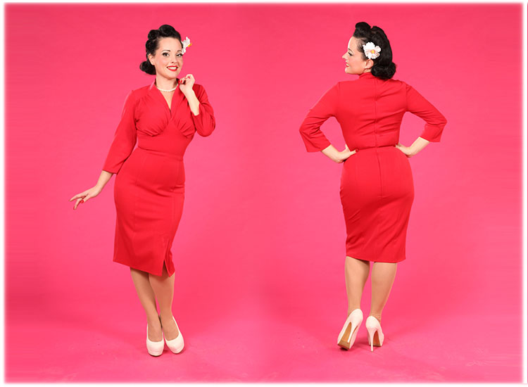 Red Bodycon Dress Pencil Retro Years 50 Fitted Office Work