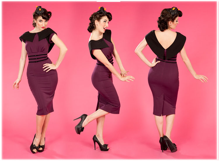 miss candyfloss purple 1950s vintage fitted pencil wiggle. Black Bedroom Furniture Sets. Home Design Ideas