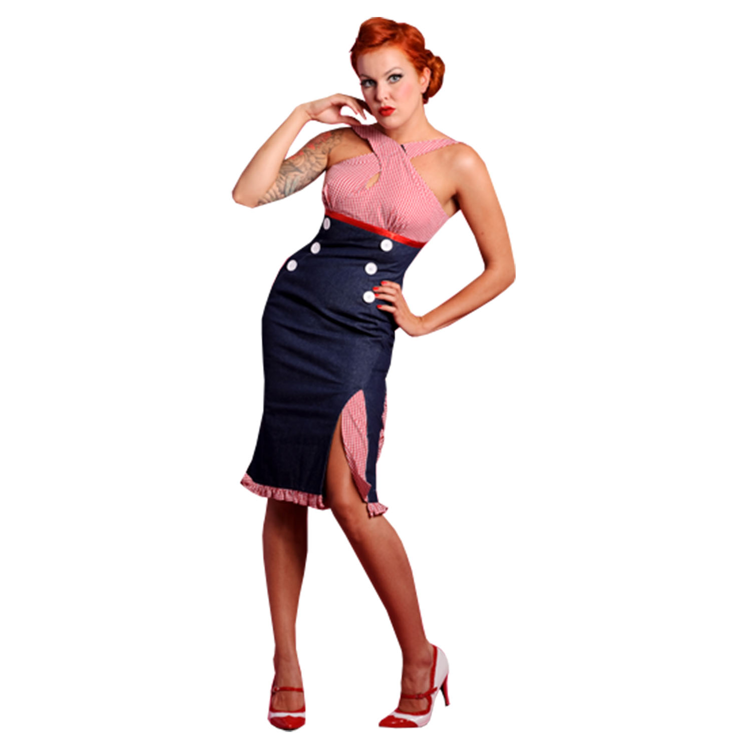 miss candyfloss red gingham denim 1950s vintage rockabilly fitted pencil dress. Black Bedroom Furniture Sets. Home Design Ideas