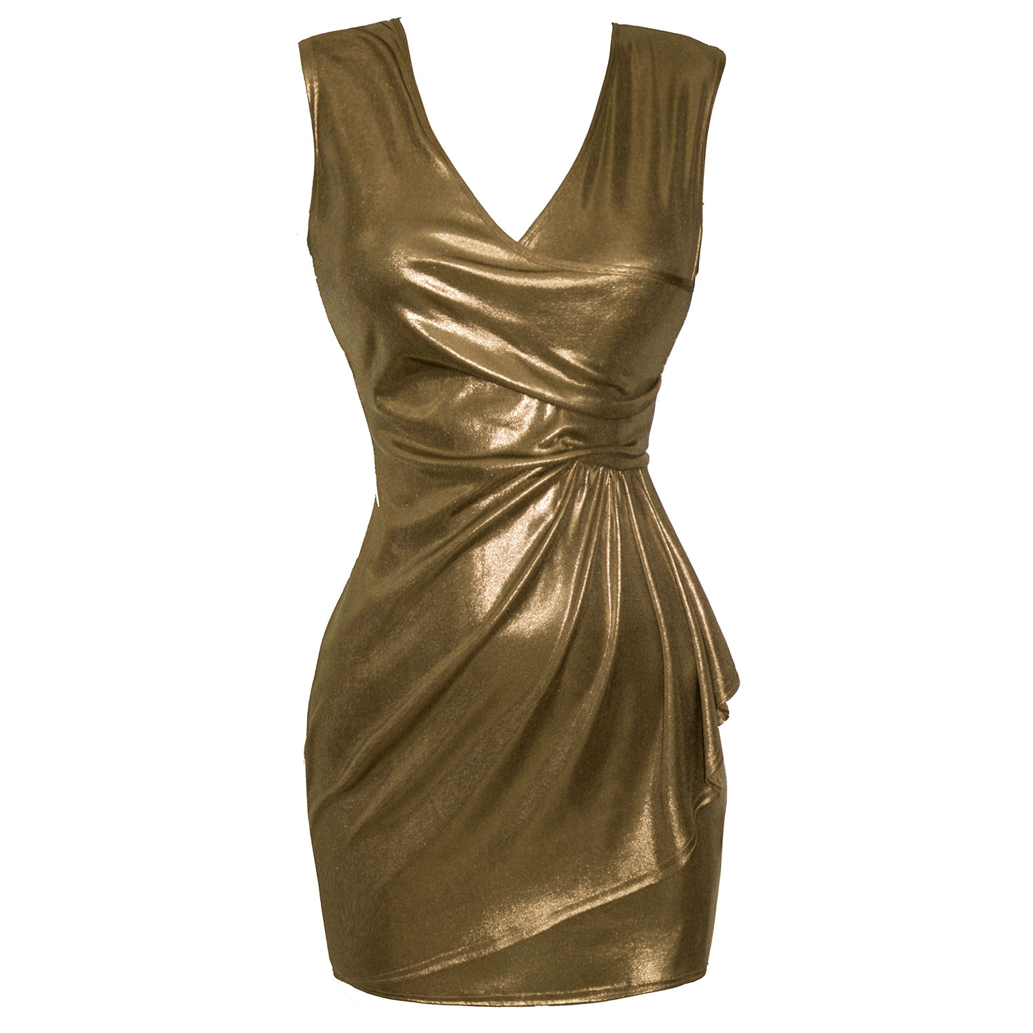 Ladies Metallic Gold Slinky Sarong Wrap Style Fitted Mini