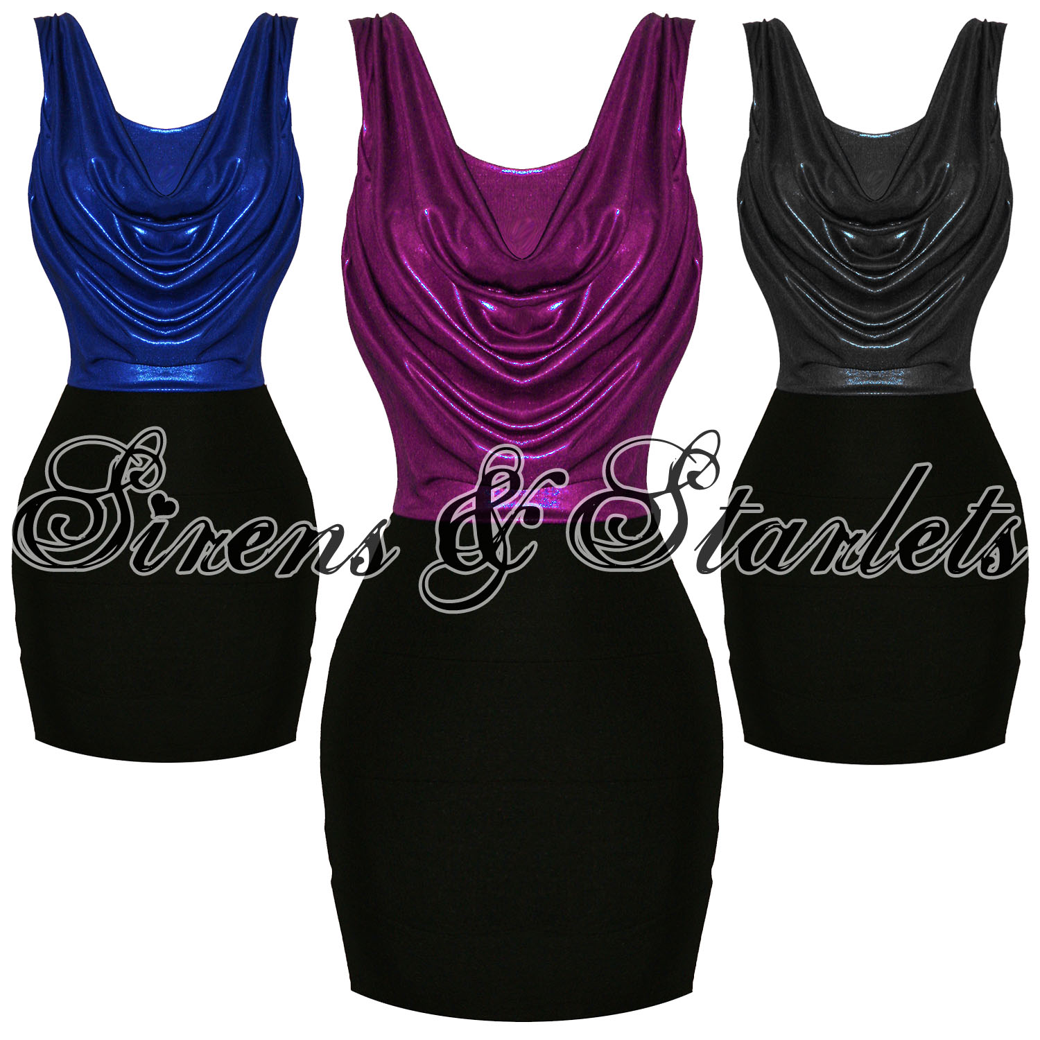 Ladies-Metallic-Pink-Blue-Blue-Cowl-Bodycon-Fitted-Mini-Christmas-Party-Dress