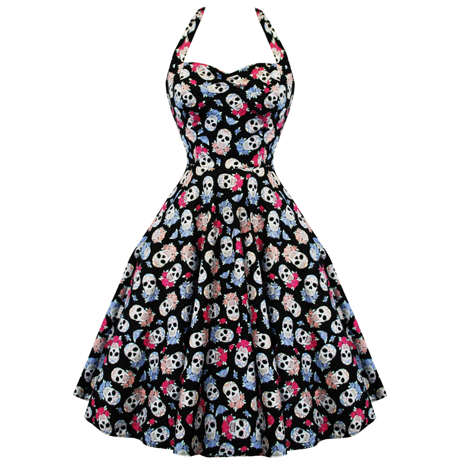 Hell-Bunny-Muertos-Sugar-Skulls-Rockabilly-Vintage-50S-Style-Party-Prom-Dress