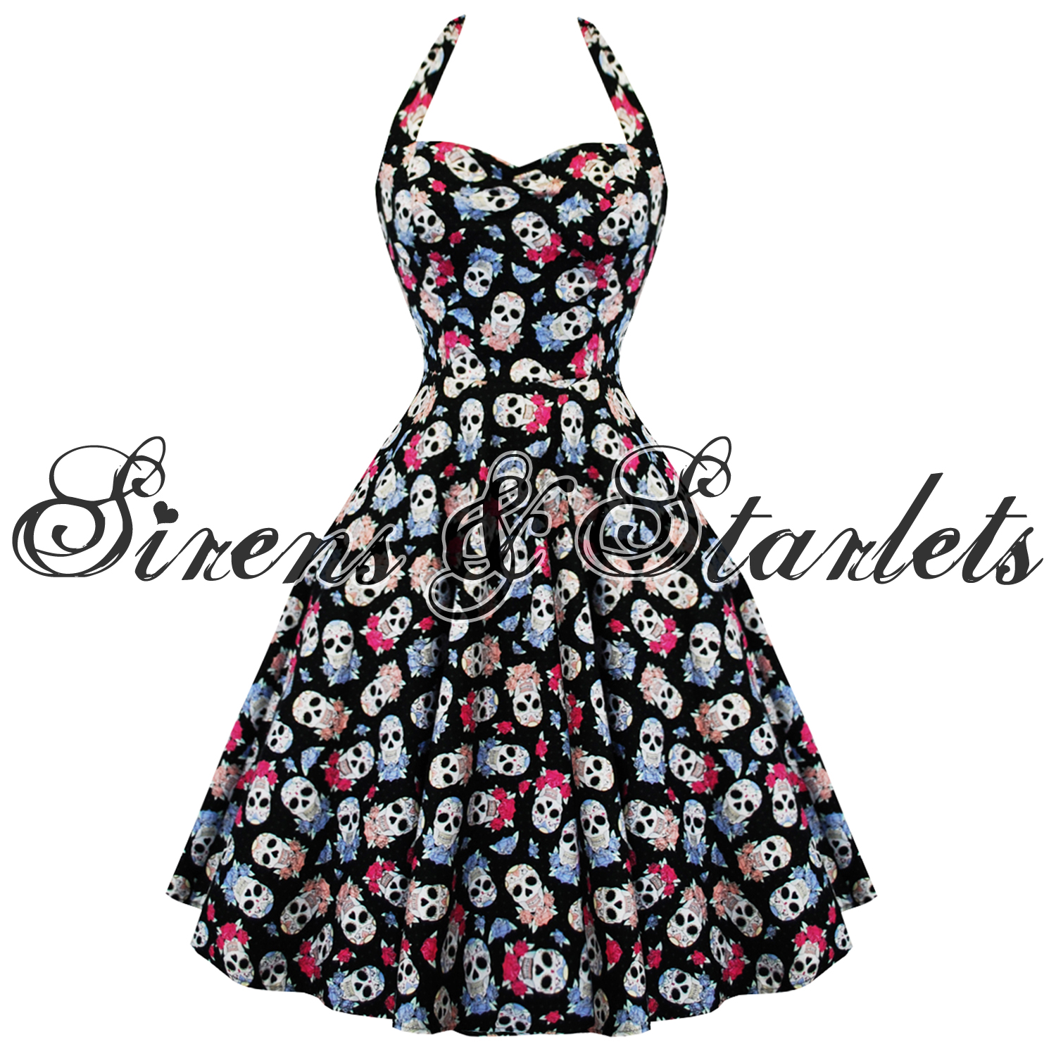 Hell Bunny Muertos Sugar Skulls Rockabilly Vintage 50s Style Party ...