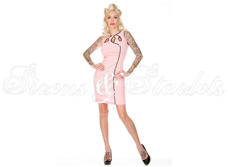 Voodoo Vixen Pink 50s Vintage Style Retro Rockabilly Diner Pencil Wiggle Dress