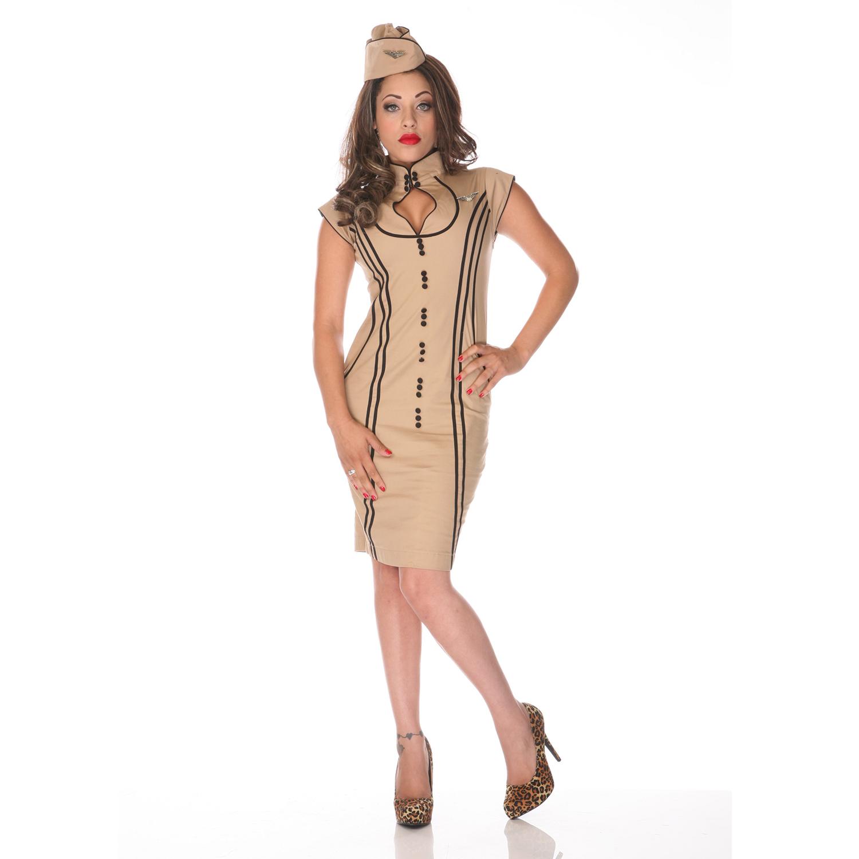 robe femme voodoo vixen h tesse beige ann es 50 vintage. Black Bedroom Furniture Sets. Home Design Ideas