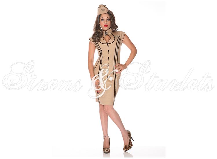 Robe femme voodoo vixen h tesse beige ann es 50 vintage style r tro neuf ebay - Tissu vintage annees 50 ...