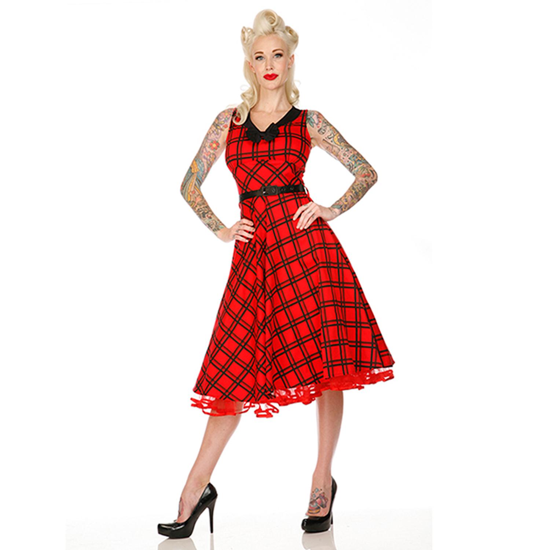 50 Anni Donna Vintage X Scacchi Rosso Nero Abito Voodoo Vixen Largo ZiuPkXOT