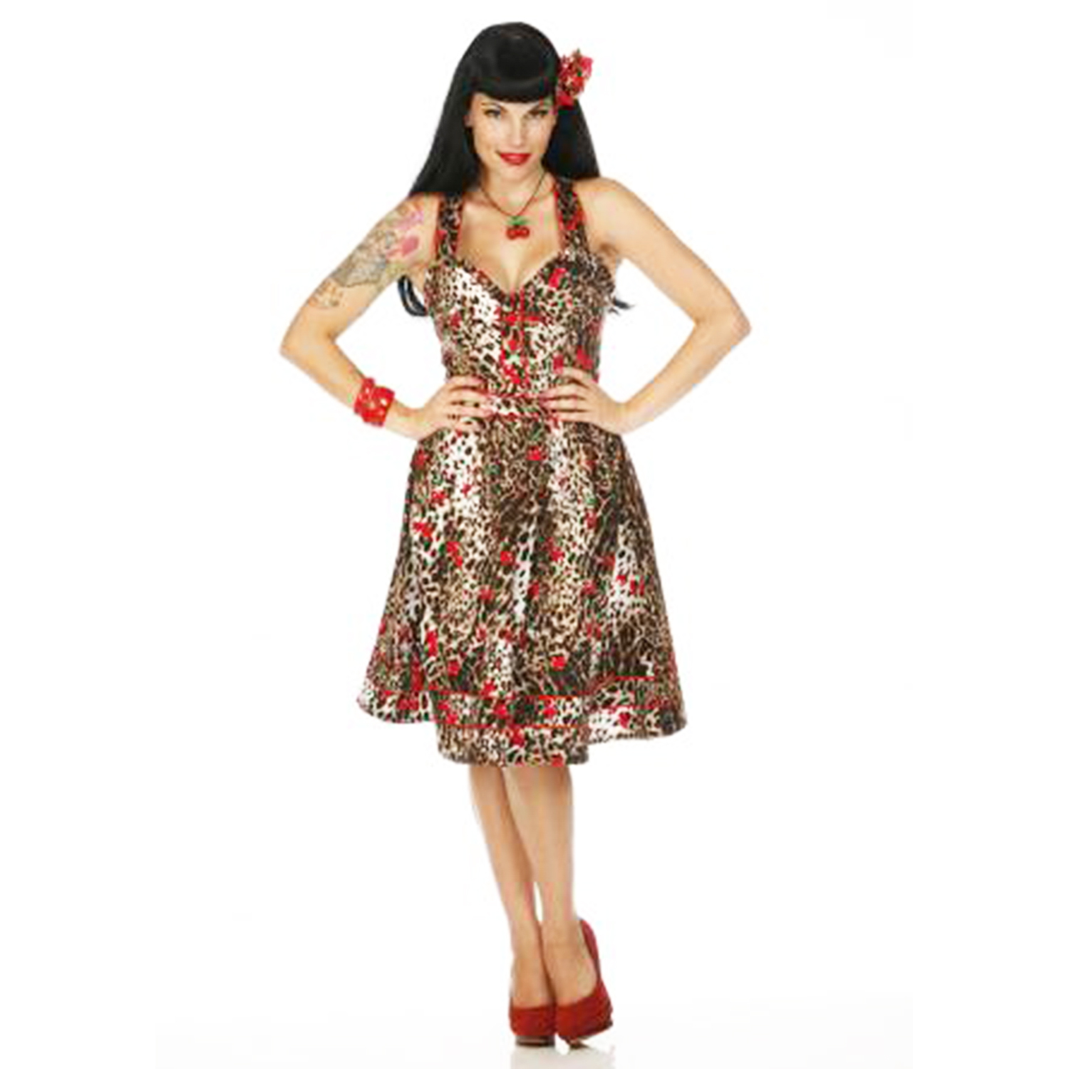 Leopard cherry 50s vintage style retro rockabilly prom party dress
