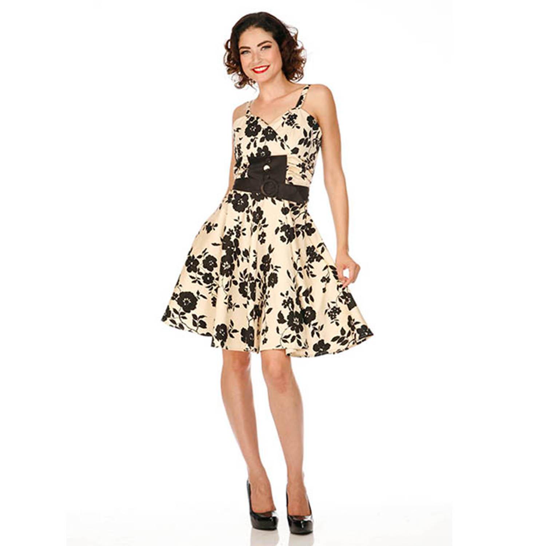 Voodoo vixen robe vas e beige et noir style ann es 50 vontage pin up ebay - Robes annees 50 ...