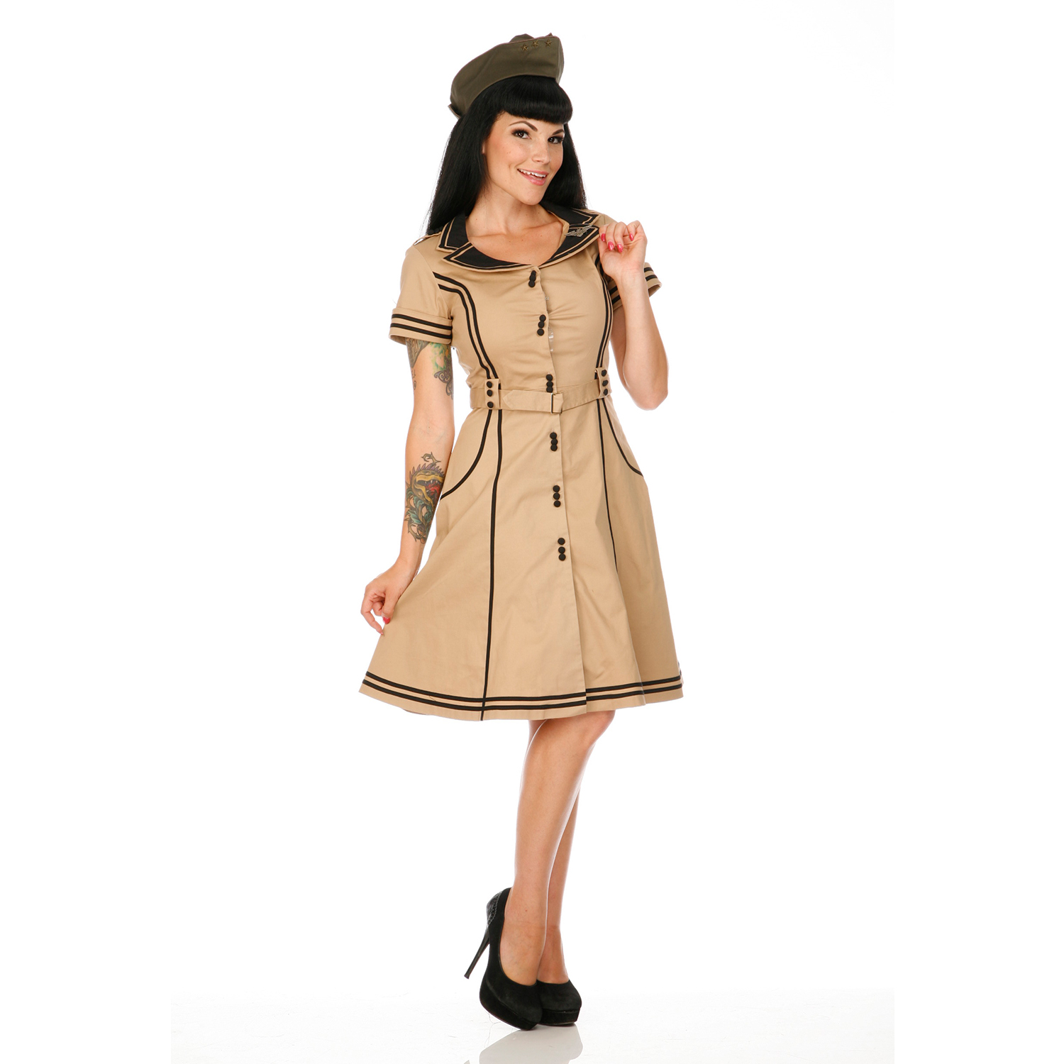 damen kleid beige 50s vintage stil retro stewardess ausgestelltes swing kleid ebay. Black Bedroom Furniture Sets. Home Design Ideas