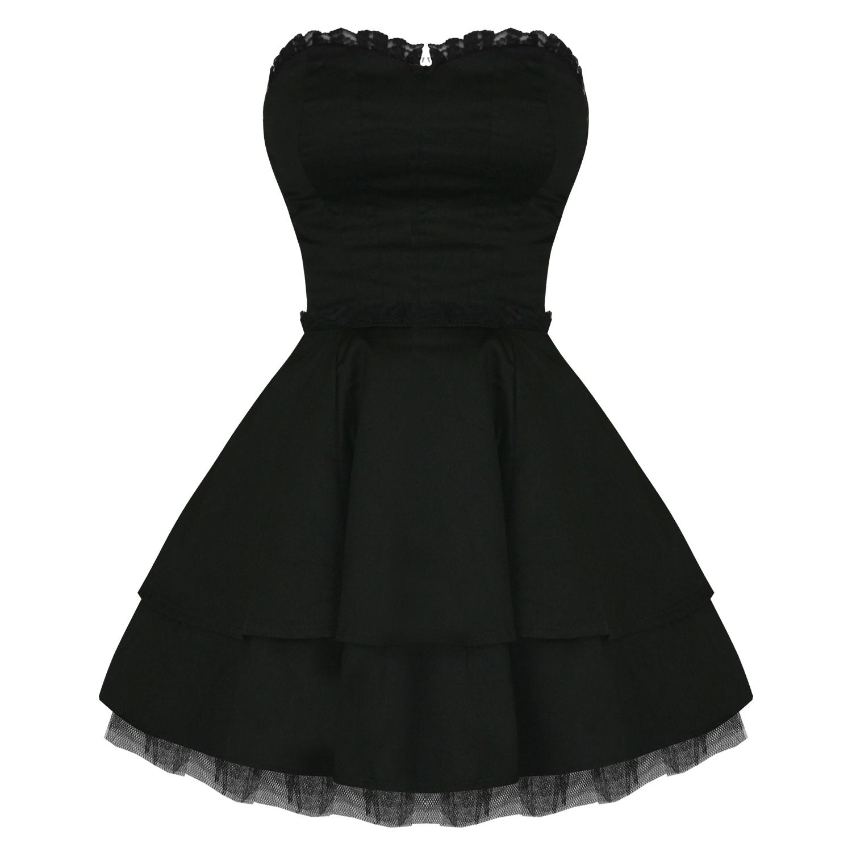 HEARTS AND ROSES LONDON Kleid Damen Trägerlos Schwarz Spitze Emo ...
