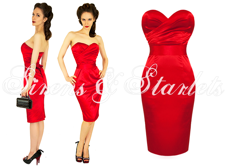 Fitted Red Cocktail Dress - Missy Dress