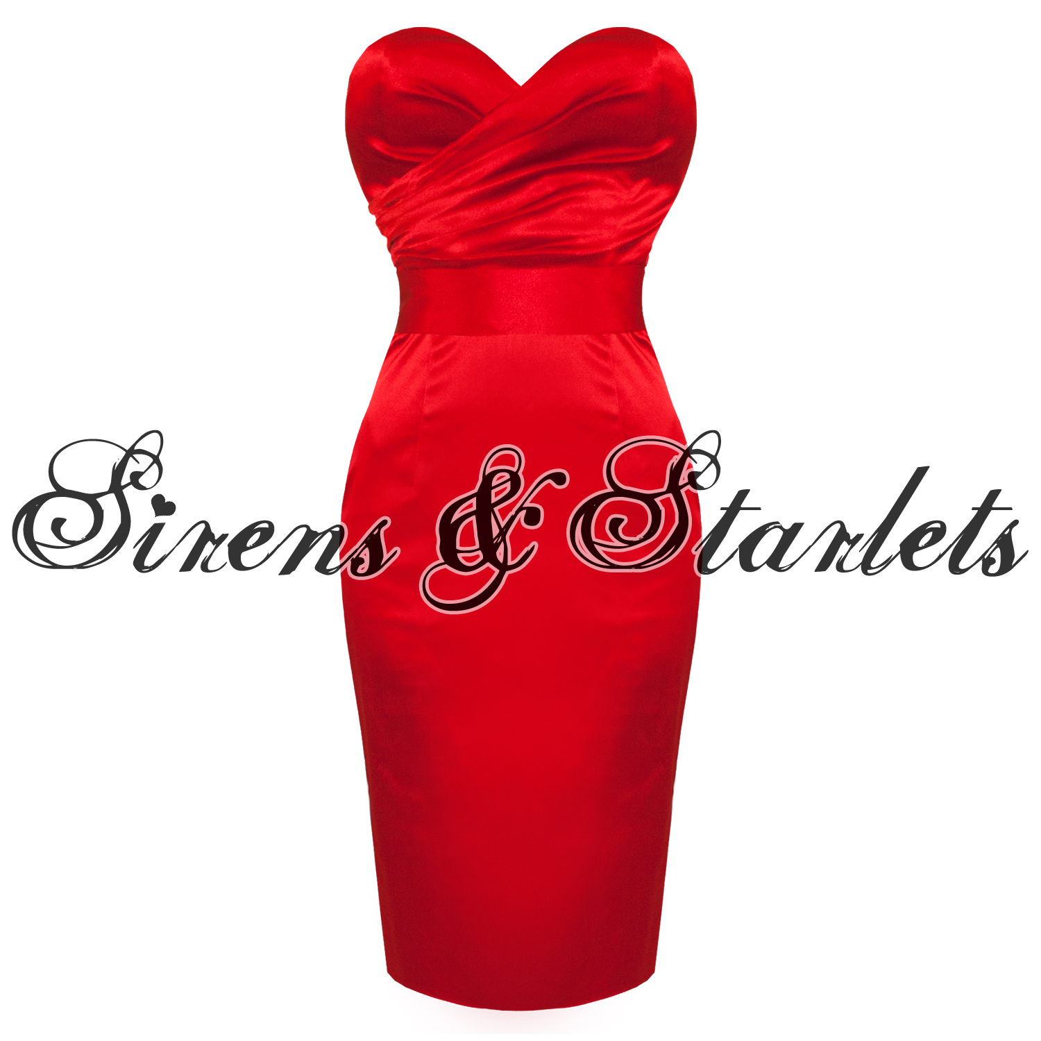 Sirens and Starlets Red Satin Strapless Vintage 50s Fitted Pencil ...