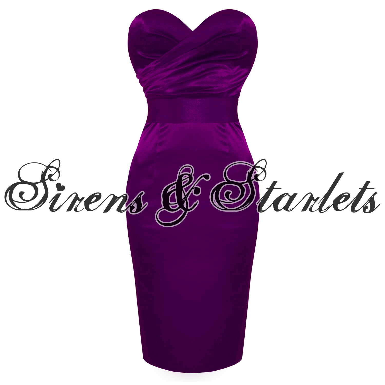 Sirens And Starlets Púrpura Satinado Vestido Fiesta Lápiz Equipada ...
