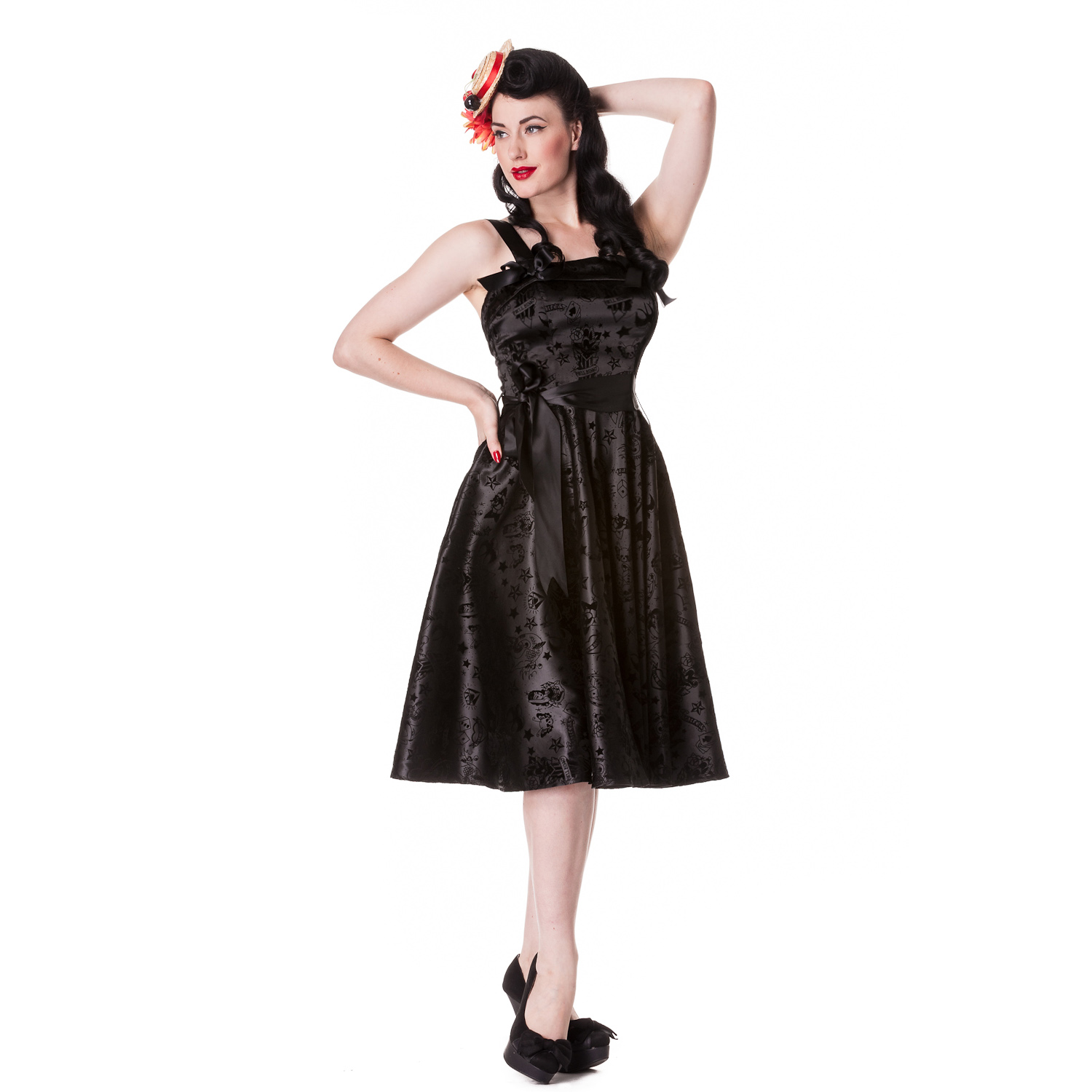 Hell-Bunny-Flocked-Tattoo-Print-Rockabilly-Vintage-50S-Style-Party-Prom-Dress