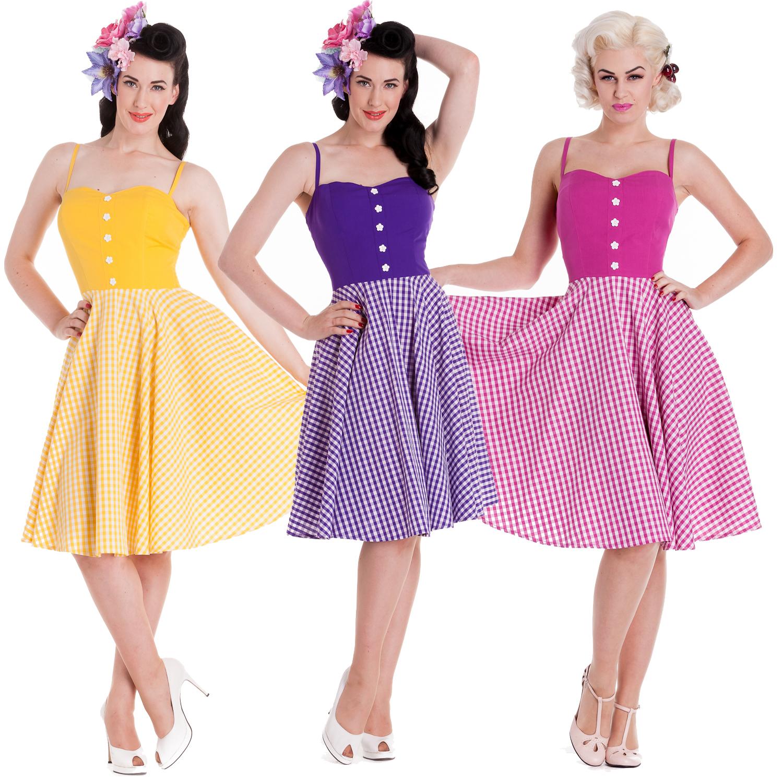 Vintage Année 50 avec robe femme hell bunny samedi gingham ete rockabilly vintage année