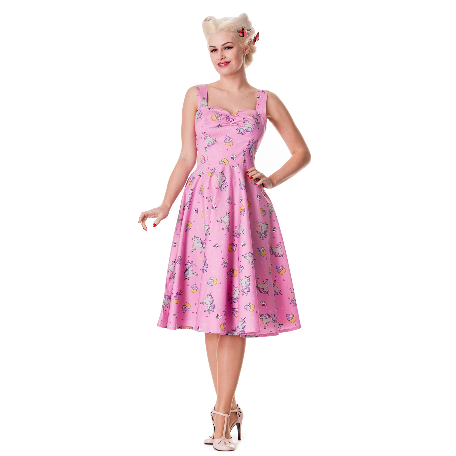 Hell-Bunny-Mystical-50S-Pink-Black-Cupcake-Rockabilly-Vintage-Party-Prom-Dress