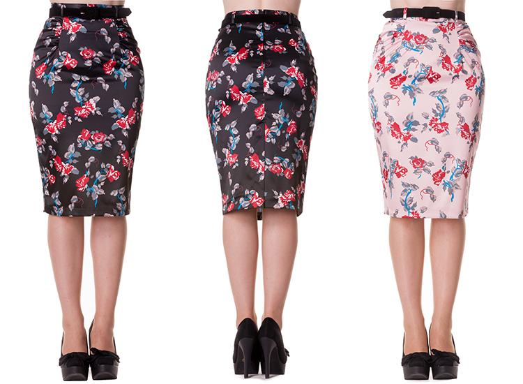 Falda tubo hell bunny carmina estampado floral rockabilly - Modelos de faldas de moda ...