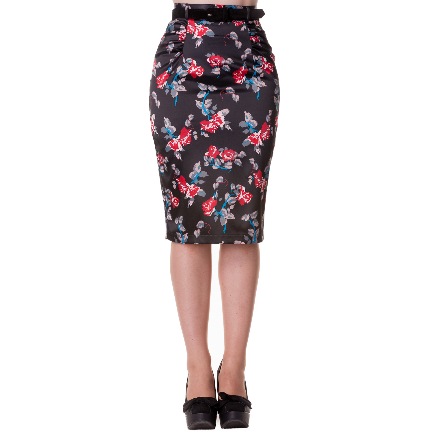 Hell Bunny Carmina Floral Rockabilly Vintage 50s Fitted Wiggle ...