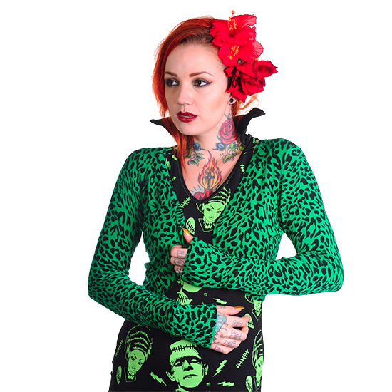 Banned Womens Red Green Leopard Print Rockabilly Cardigan Bolero ...