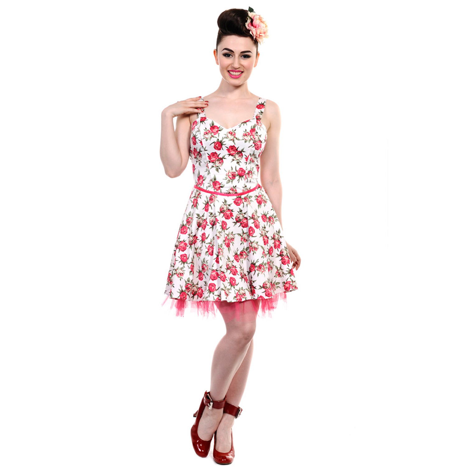 8f36b7d5a549 Banned New Ladies Black White Pink Floral Vintage 50s Rockabilly ...