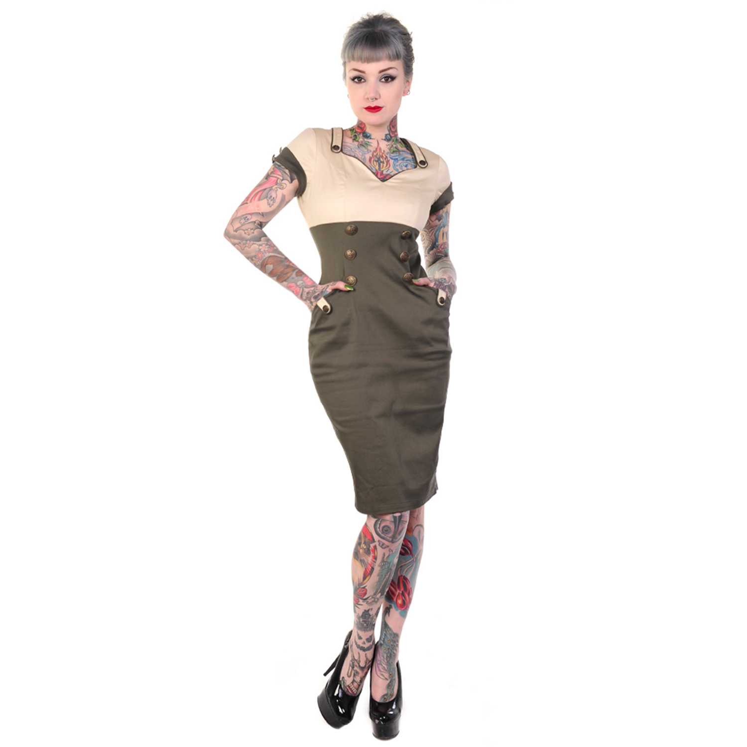Banned Khaki Green Army Wartime 1940s 1950s Pinup Vintage ...