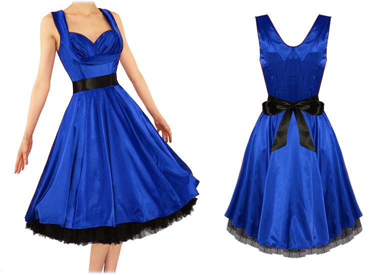 robe femme london satin bleu vintage ann es 50 pinup. Black Bedroom Furniture Sets. Home Design Ideas