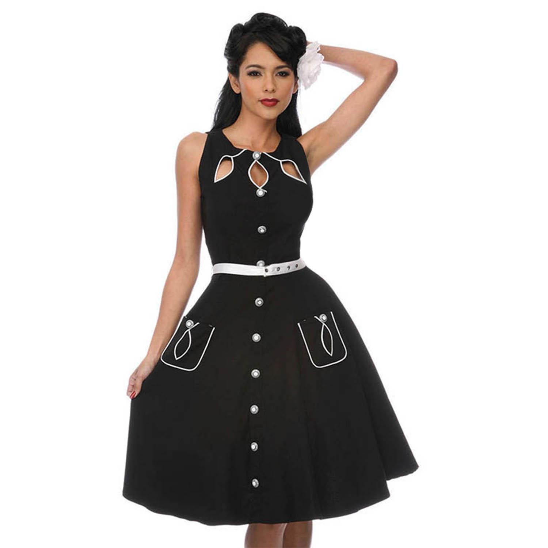 Black dress retro - Voodoo Vixen Black 50s Vintage Style Retro Rockabilly