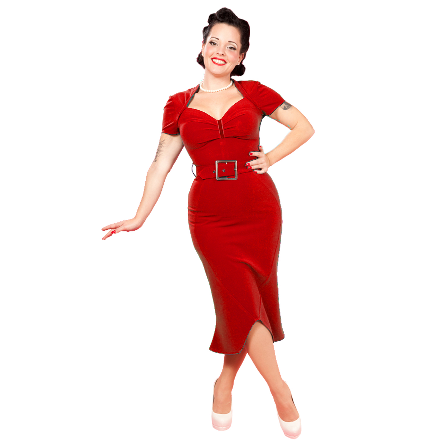 Miss candyfloss kathleen rose red 50s vintage fitted for Creer dressing