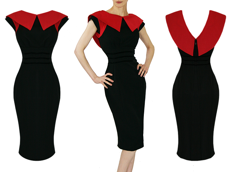 Robe Crayon 1950s Vintage Noir Rouge Mlle Candyfloss