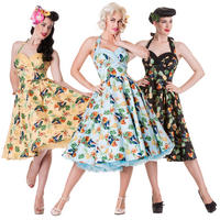Hell Bunny Sassy Tropical Bird Hawaii Rockabilly Vintage 50s Party Prom Dress