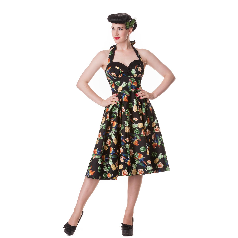 63fdd115714 Hell Bunny Sassy Tropical Bird Hawaii Rockabilly Vintage 50s Party Prom  Dress
