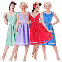 Hell Bunny Karen Polka Dot Rockabilly Vintage Inspired 50s Party Prom Dress