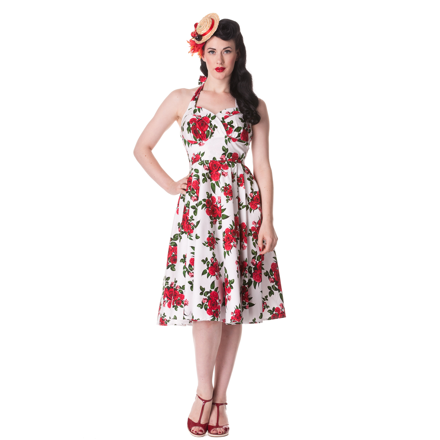 Hell Bunny Cannes White Floral Rose Rockabilly Vintage 50s
