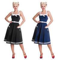 Hell Bunny Siren Navy Black Nautical Sailor Girl Rockabilly Party Prom Dress
