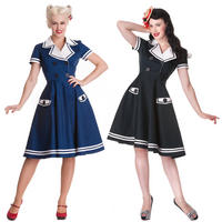Hell Bunny Seafarer Navy Black Nautical Sailor Girl Rockabilly Party Prom Dress