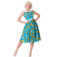 Hell Bunny Sunrise 50s Blue Rockabilly Vintage Floral Sunflower Party Prom Dress