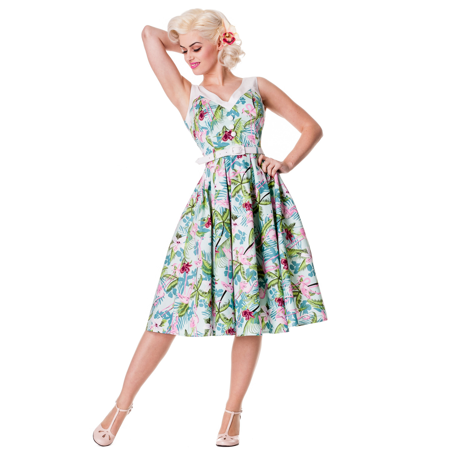 Hell-Bunny-Larissa-Floral-Flamingo-Rockabilly-Vintage-Style-50S-Party-Prom-Dress