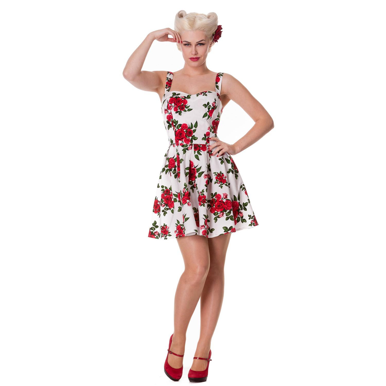 b496b5318b3 La foto se está cargando Robe-femme-Hell-Bunny-Canes-blanche-motifs-floraux-