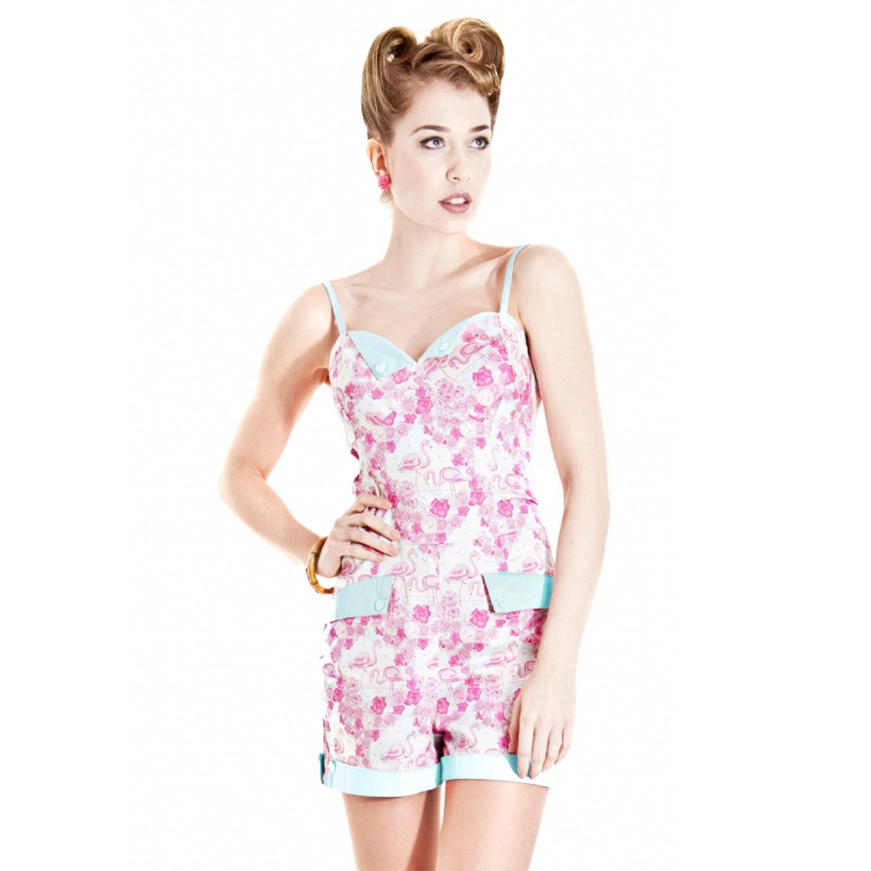 a32abbda353 Image is loading Collectif-Flaming-Flamingo-Pink-Aqua-Floral-Bird-Kitsch-